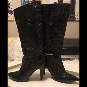 Gianni bini  croc embossed leather boots.